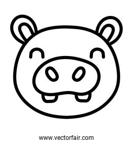 cute hippo wild animal line style icon