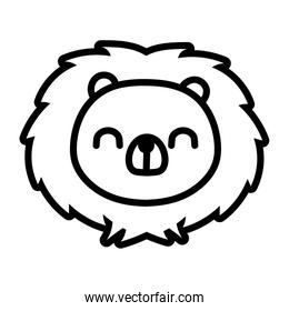 cute little porcupine animal line style icon