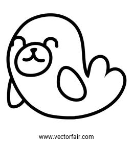 cute seal sea life animal line style