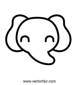 cute elephant wild animal line style icon