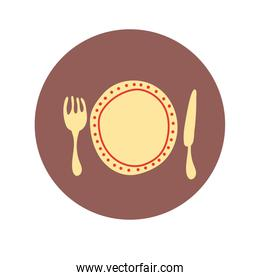 dish with fork and knife hand draw style