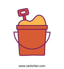 Sand bucket line and fill style icon vector design