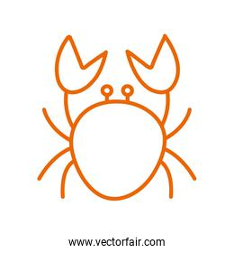Isolated crab line style icon vector design