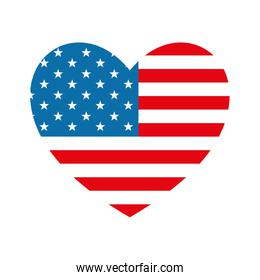 Isolated usa flag heart flat style icon vector design