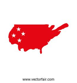 Isolated usa map with stars flat style icon vector design