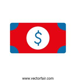 Isolated bill with dollar symbol flat style icon vector design