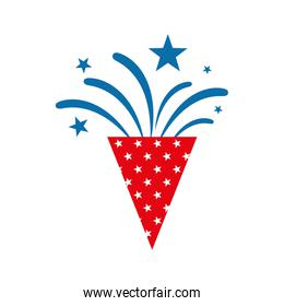 Isolated celebration firework cone flat style icon vector design