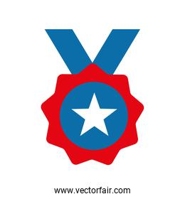 Isolated medal with star flat style icon vector design