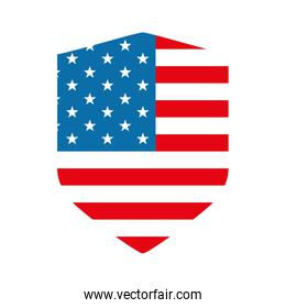 Isolated usa flag shield flat style icon vector design
