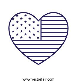 Isolated usa flag heart line style icon vector design