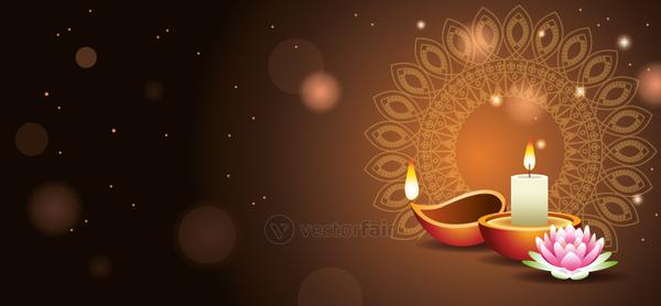 Happy Diwali Indian Celebration Design with candle