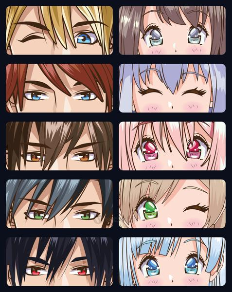 group of faces young people anime style characters