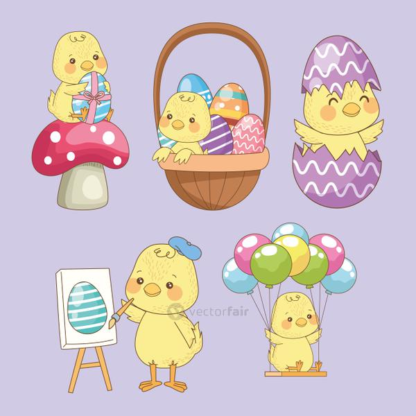 happy easter card with baby chicks group