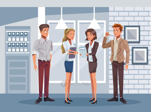 young business people workers characters