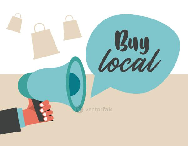 buy local banner with megaphone and speech bubble