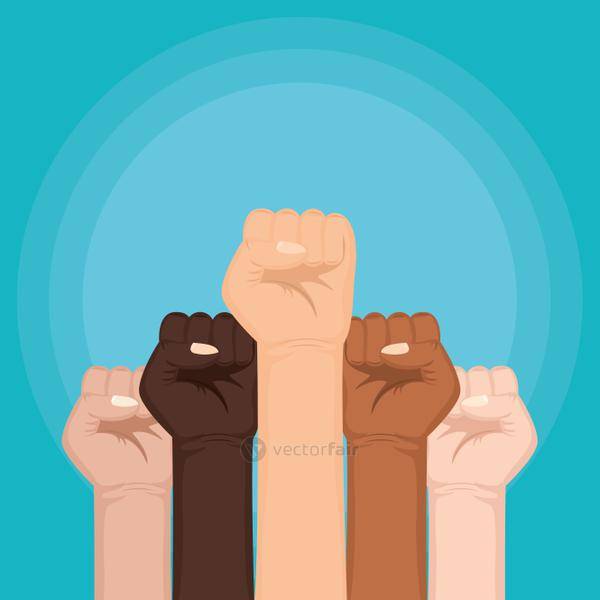 interracial hands fist human rights fight