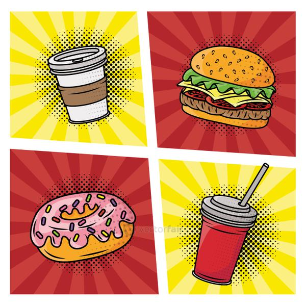fast food delicious pop art style
