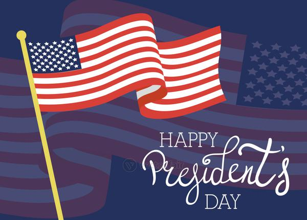 happy presidents day poster with usa flag