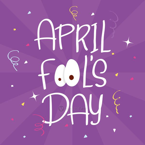 happy april fools day card with lettering