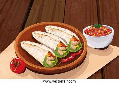 Delicious Mexican Food with tomato and burrito