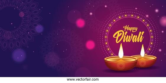 Happy Diwali Indian Celebration Design with candles
