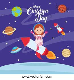 happy children day cartel with girl in the space