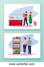 grocery stores with people characters