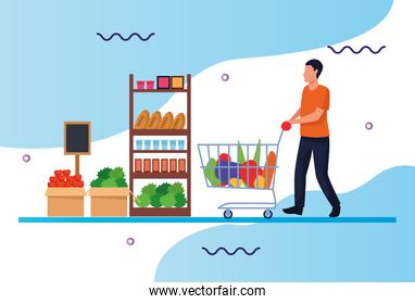 grocery stores with man shopping character