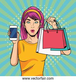 young girl with shopping bags and smartphone pop art style