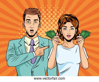 business couple with bills dollars pop art style characters