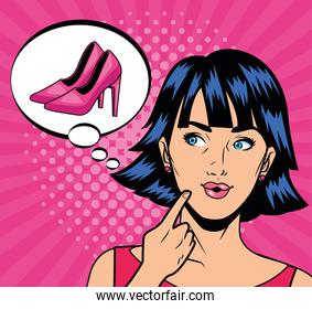 young girl thinking in shoes pop art style character