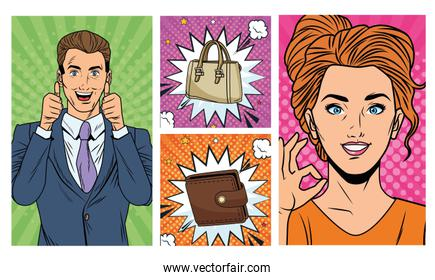 business couple with wallet and handbag pop art style
