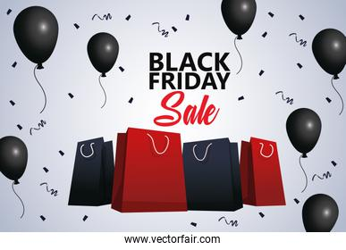 black friday sale poster with shopping bags and balloons helium