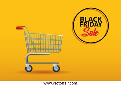 black friday sale poster with shopping cart