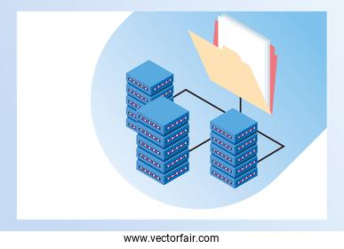 big data technology with servers towers