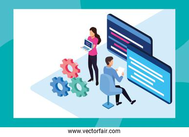 big data technology with webpage template and people