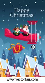 merry christmas card with santa claus and elf in airplane