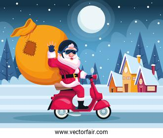 merry christmas card with santa claus in motorcycle