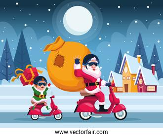 merry christmas card with santa claus and elf in motorcycle