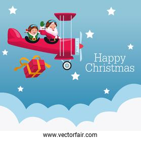 merry christmas poster with santa claus and elf in airplane