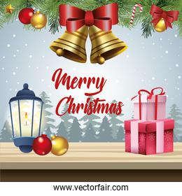 merry christmas card with kerosene lantern and gifts