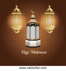 hajj mabrur celebration with lanterns hanging and mosque tower