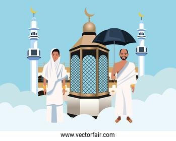 hajj mabrur celebration with people and mosque in clouds