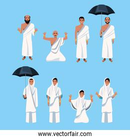 group of islamic persons characters