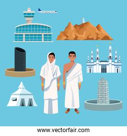 muslims persons in hajj mabrur travel set icons