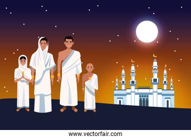 hajj mabrur celebration with muslims and mosque