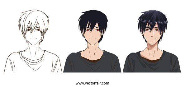 drawing process of young man anime style character