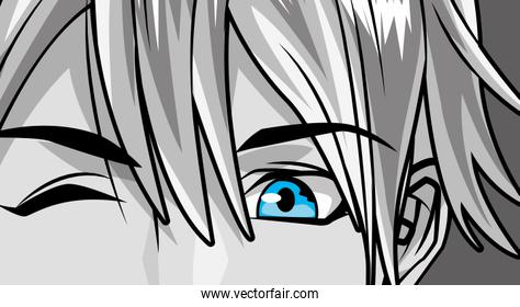 face young man monochrome anime style character
