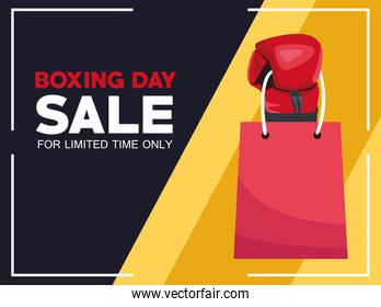 boxing day sale poster with glove and shopping bag