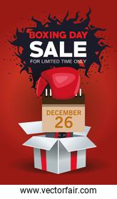 boxing day sale poster with gift and calendar